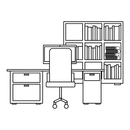 workspace office desk pc armchair bookshelf books vector illustration outline design 일러스트