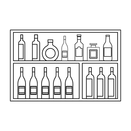 shelving furniture with different glass bottles beverages alcohol vector illustration outline design Illustration