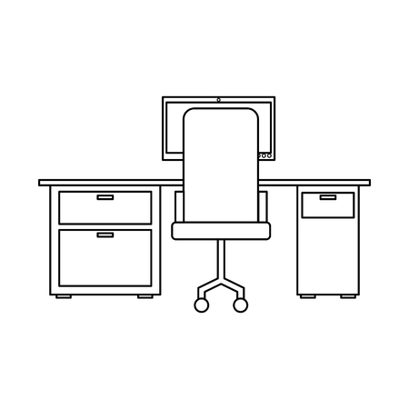 workspace office desk computer armchair view back vector illustration outline design 写真素材 - 97722375