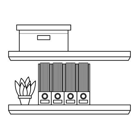 shelves carton box folder and plant in pot vector illustration outline design
