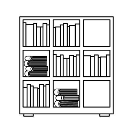 étagère et livres encyclopédie lire illustration vectorielle contour design Vecteurs