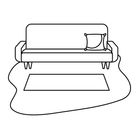 living room sofa cushion carpet furniture decoration interior vector illustration outline design