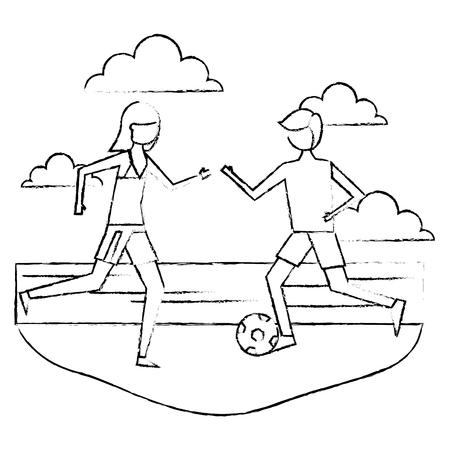 サッカーボールベクトルイラストスケッチデザインでビーチで遊ぶカップル漫画