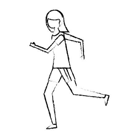 fitness woman running in sport clothes vector illustration sketch design Çizim