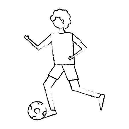 サッカーボールベクトルイラストスケッチデザインで実行している若い男
