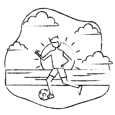 young man in swimsuit playing with ball in the beach vector illustration sketch design Illustration