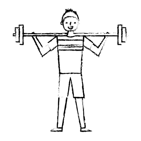young man training lifting weight barbell vector illustration sketch design Ilustração