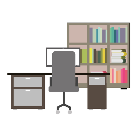 workspace office desk pc armchair bookshelf books vector illustration