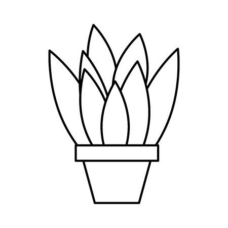potted plant leaves interior decoration vector illustration outline design