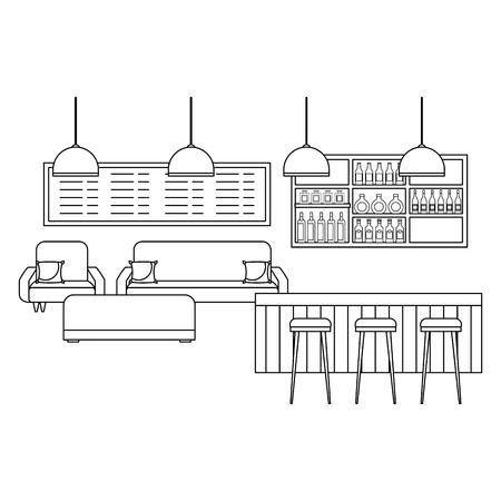 coffee shop interior counter stools sofa menu vector illustration outline design  イラスト・ベクター素材
