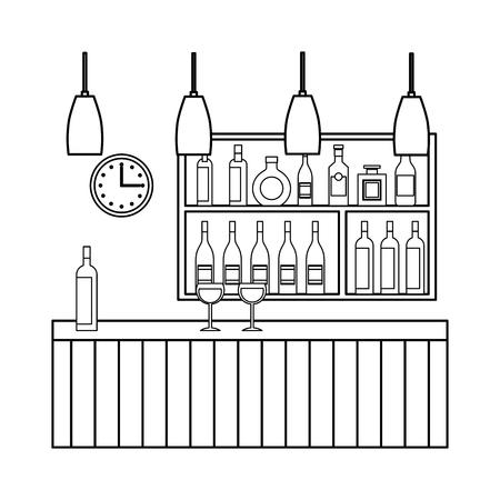 bar restaurant interior shelf counter beverage alcohol and glass cups vector illustration outline design