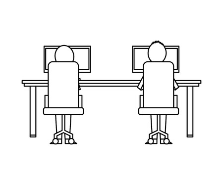 people sitting view back chairs table and computers vector illustration outline design Illustration