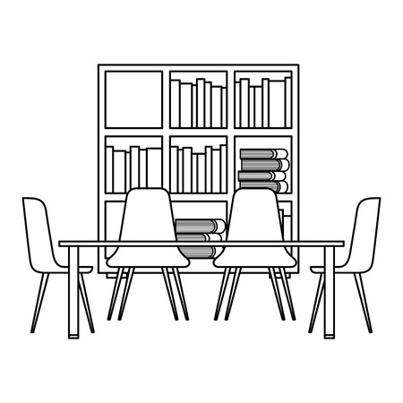 library with bookshelves and desk with chairs vector illustration outline design Stockfoto - 97676436