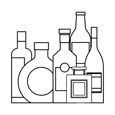 collection bottles liquor beverage drink vector illustration outline design
