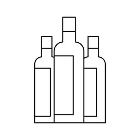 liquor bottles drink beverage alcohol vector illustration outline design