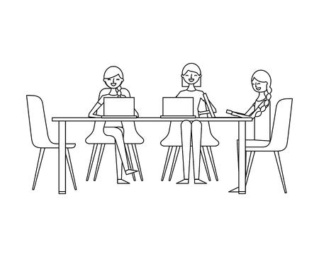 ラップトップベクトルイラストアウトラインデザインと一緒に働いて座っている人々のグループの女性  イラスト・ベクター素材