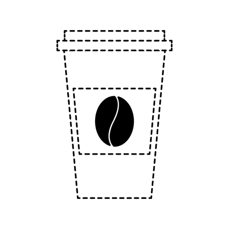 disposable coffee cup icon with coffee bean takeaway vector illustration dotted line design