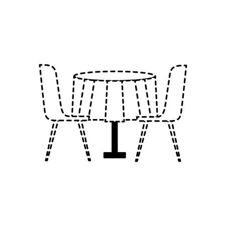 家具レストランペアチェアとラウンドテーブルベクトルイラスト点線デザイン