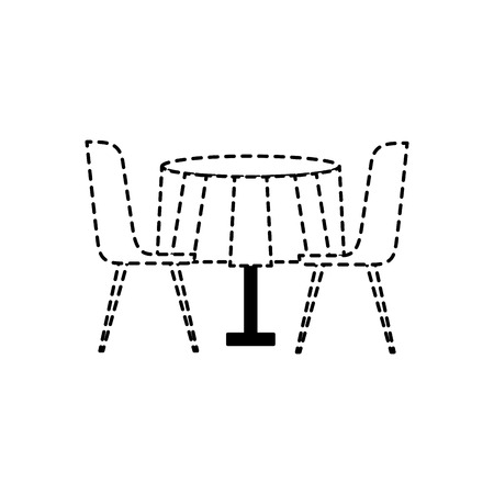 furniture restaurant pair chair and round table vector illustration dotted line design Ilustração