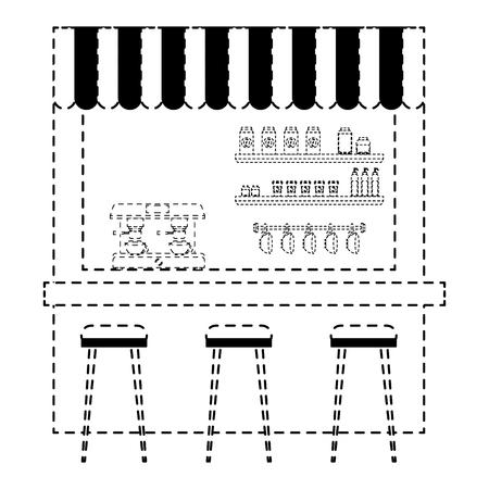 Café, machine, espresso, tabourets, et, étagère, vecteur, illustration, pointillé, conception, ligne Banque d'images - 97677045
