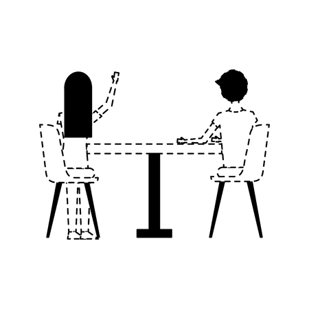 couple sitting on the chairs and table at view from the back vector illustration dotted line design Illustration