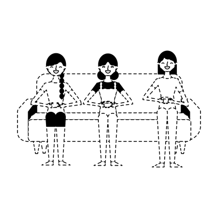 people female sitting drinking coffee in cup vector illustration dotted line design