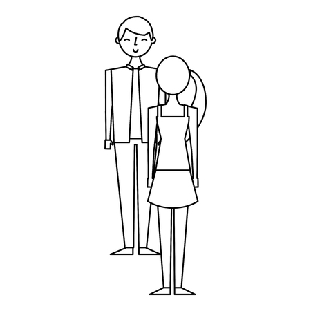 couple standing looking at each other vector illustration outline design Illustration