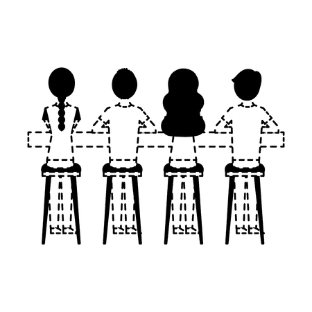 group people sitting on stool viewed from the back vector illustration dotted line design Illustration
