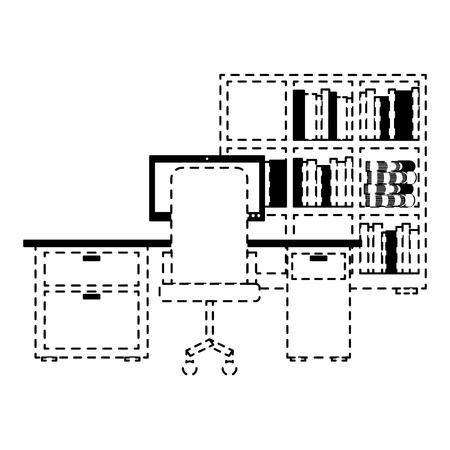 workspace office desk pc armchair bookshelf books vector illustration dotted line design