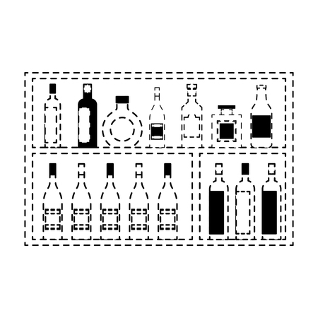 shelving furniture with different glass bottles beverages alcohol vector illustration dotted line design Illustration