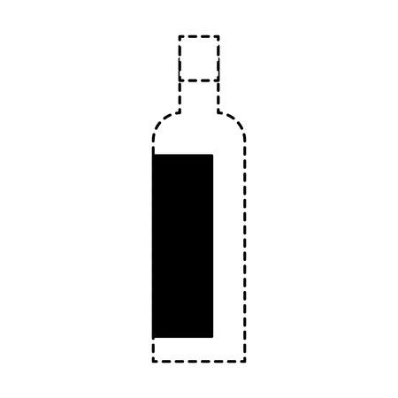 alcohol drink liquor bottle image vector illustration dotted line design Stock Illustratie