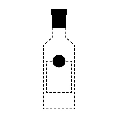 alcohol drink liquor bottle image vector illustration dotted line design Reklamní fotografie - 97693992