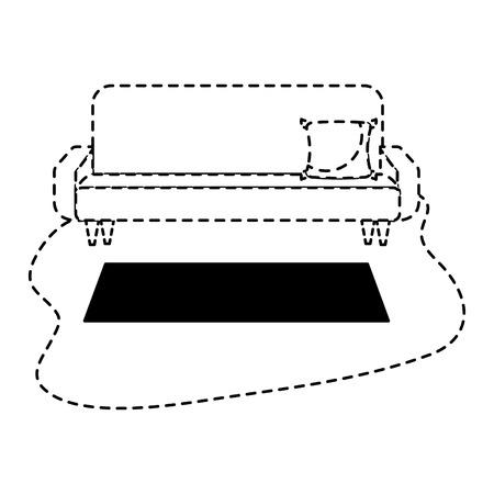 living room sofa cushion carpet furniture decoration interior vector illustration dotted line design