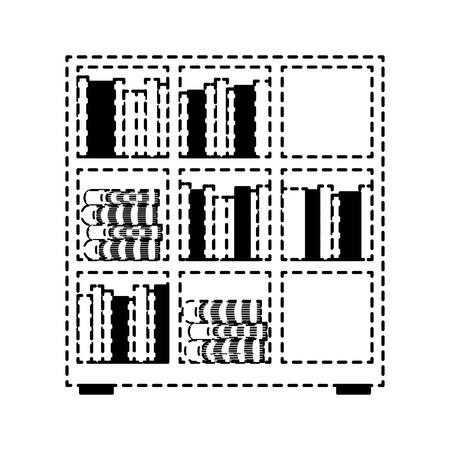 Estantería y enciclopedia de libros leer ilustración vectorial diseño de línea punteada Foto de archivo - 97676444