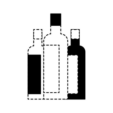 liquor bottles drink beverage alcohol vector illustration dotted line design