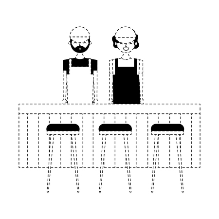employee baristas standing behind bar counter and stools vector illustration dotted line design