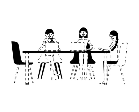 people group women sitting working together with laptops vector illustration dotted line design Banque d'images - 97676484