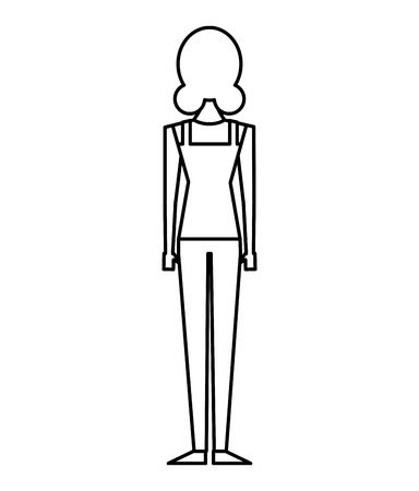 back view of woman standing character vector illustration outline design