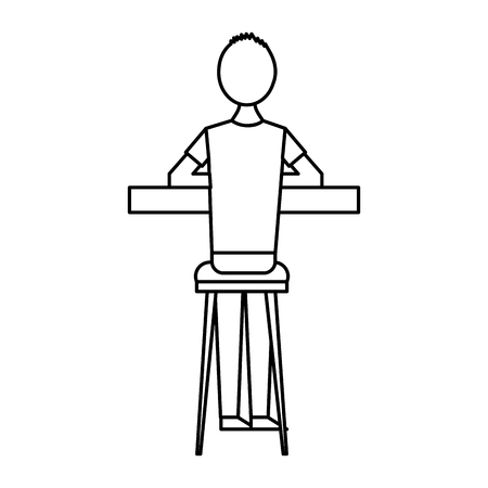 back view cartoon man sitting on stool and counter vector illustration outline design Illustration