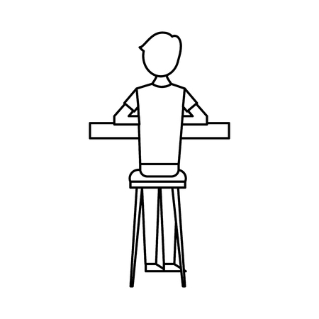 スツールとカウンターベクトルイラストアウトラインデザインに座っているバックビュー漫画の男  イラスト・ベクター素材