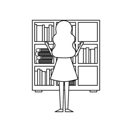 bookshelf young woman choosing a book back view vector illustration outline design 写真素材 - 97677894