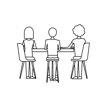people metting with table and chairs a back view vector illustration outline design Ilustracja