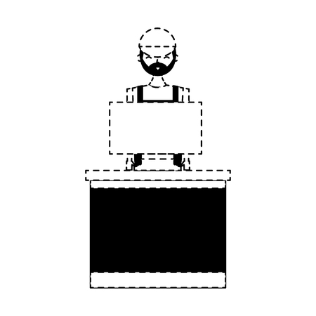 barista female in uniform standing behind cash register vector illustration dotted line design Illusztráció