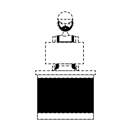 barista female in uniform standing behind cash register vector illustration dotted line design Vectores