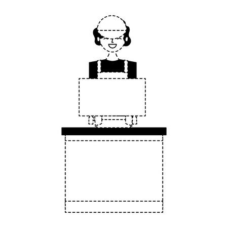 barista female in uniform standing behind cash register vector illustration dotted line design Ilustração