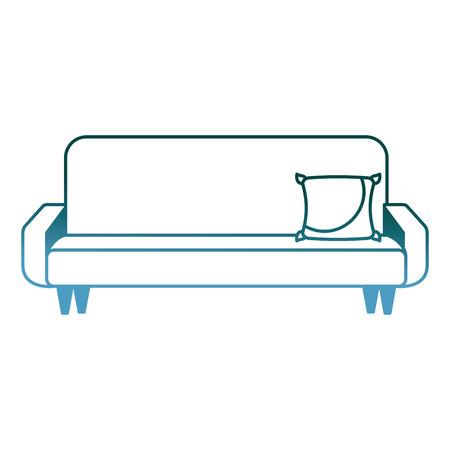 big sofa with cushion comfort furniture vector illustration gradient color design Illustration