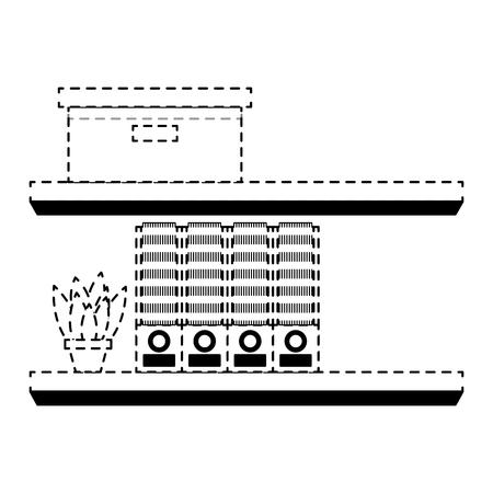 shelves carton box folder and plant in pot vector illustration dotted line design