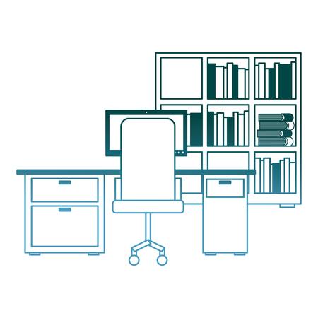 workspace office desk pc armchair bookshelf books vector illustration gradient color design