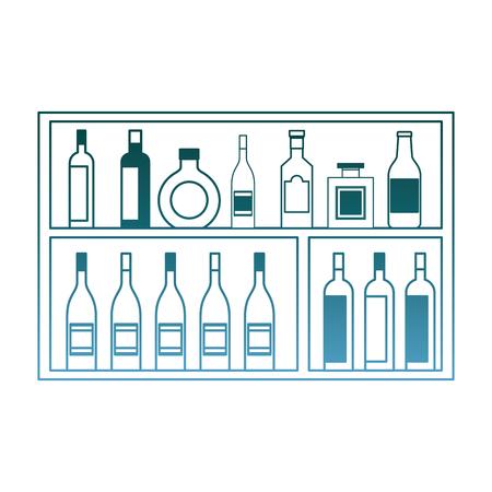 shelving furniture with different glass bottles beverages alcohol vector illustration gradient color design