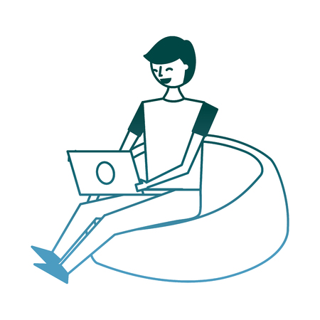 young man sitting working with laptop on bean bag vector illustration gradient color design